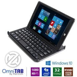 "OmniTAB 8"" HD Pro Quad Core Windows 10 Tablet PC w/Keyboard"